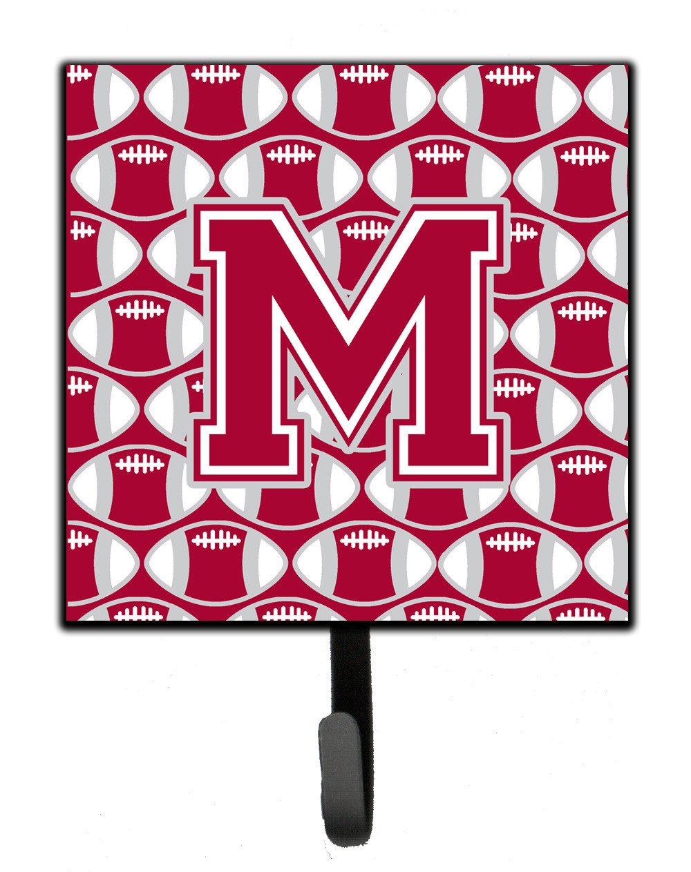 Letter M Football Crimson, grey and white Leash or Key Holder CJ1065-MSH4 by Caroline's Treasures