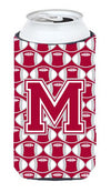 Letter M Football Crimson, grey and white Tall Boy Beverage Insulator Hugger CJ1065-MTBC by Caroline's Treasures