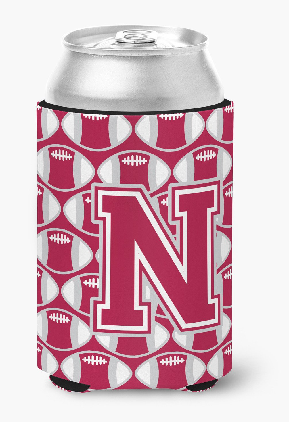 Letter N Football Crimson, grey and white Can or Bottle Hugger CJ1065-NCC by Caroline's Treasures