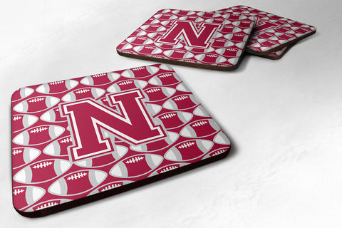 Buy this Letter N Football Crimson, grey and white Foam Coaster Set of 4 CJ1065-NFC