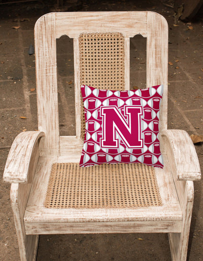 Letter N Football Crimson, grey and white Fabric Decorative Pillow CJ1065-NPW1414