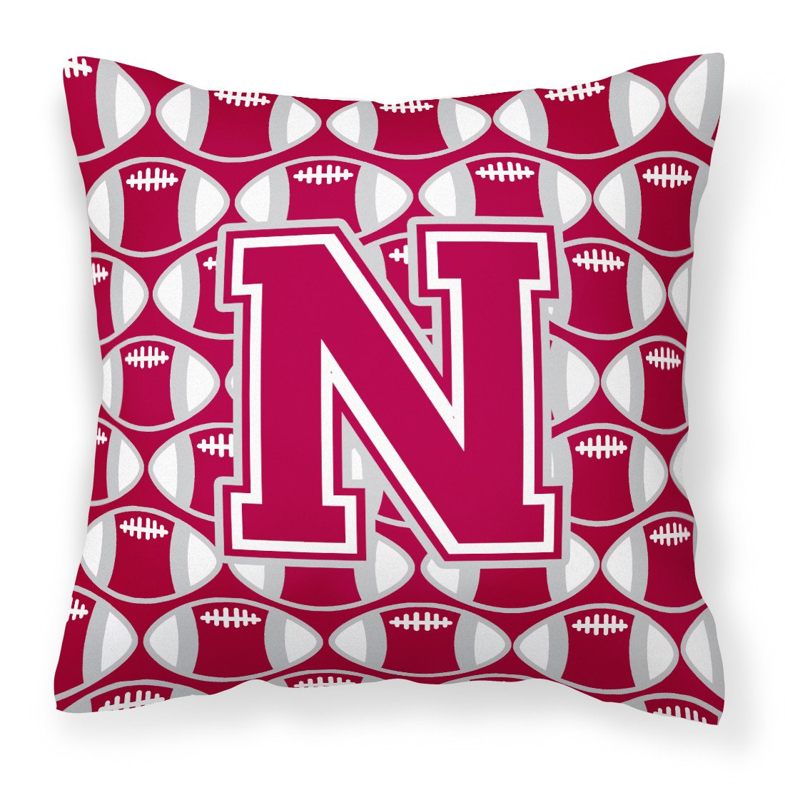 Letter N Football Crimson, grey and white Fabric Decorative Pillow CJ1065-NPW1414 by Caroline's Treasures