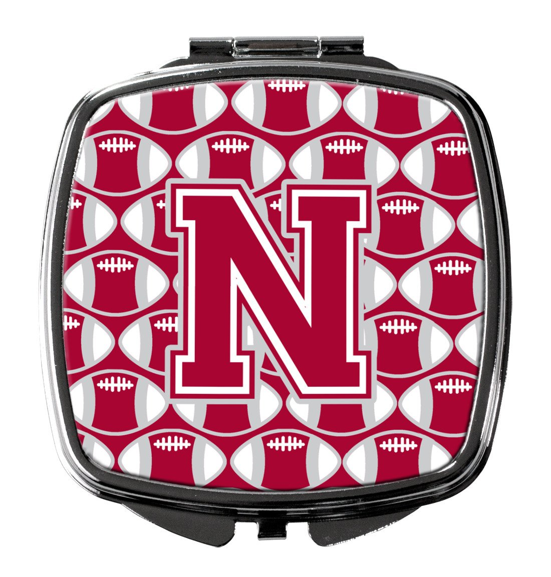 Letter N Football Crimson, grey and white Compact Mirror CJ1065-NSCM by Caroline's Treasures