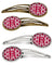 Buy this Letter R Football Crimson, grey and white Set of 4 Barrettes Hair Clips CJ1065-RHCS4