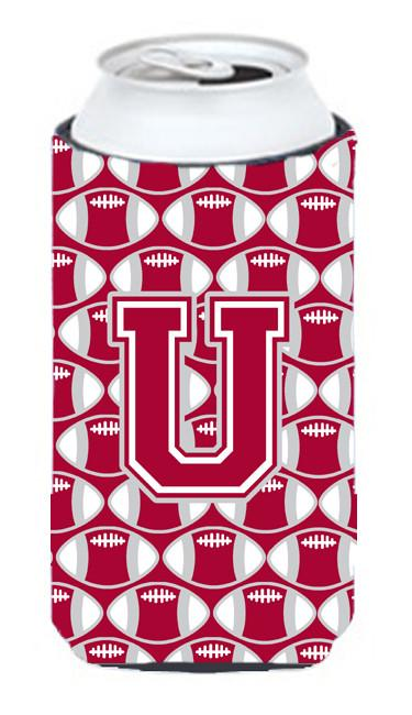 Buy this Letter U Football Crimson, grey and white Tall Boy Beverage Insulator Hugger CJ1065-UTBC