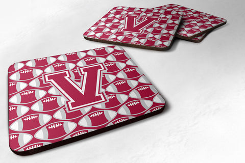 Buy this Letter V Football Crimson, grey and white Foam Coaster Set of 4 CJ1065-VFC