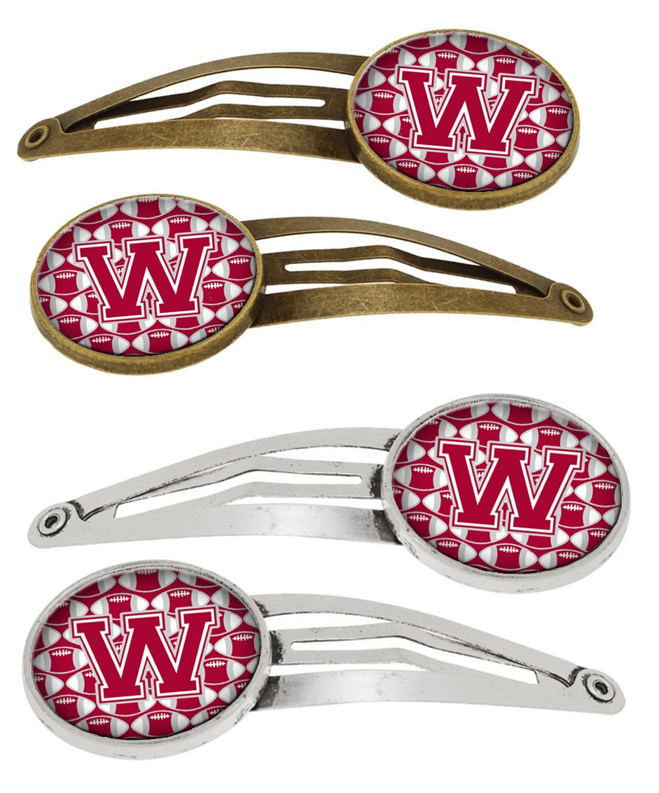 Buy this Letter W Football Crimson, grey and white Set of 4 Barrettes Hair Clips CJ1065-WHCS4