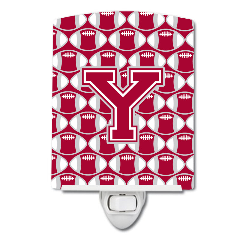 Buy this Letter Y Football Crimson, grey and white Ceramic Night Light CJ1065-YCNL