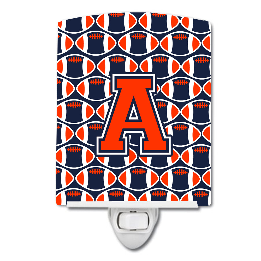 Buy this Letter A Football Orange, Blue and white Ceramic Night Light CJ1066-ACNL