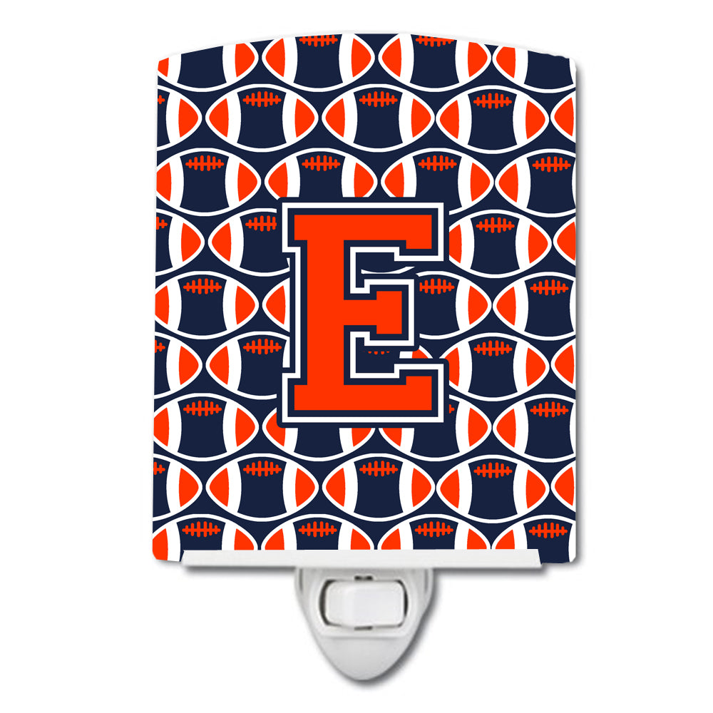Buy this Letter E Football Orange, Blue and white Ceramic Night Light CJ1066-ECNL