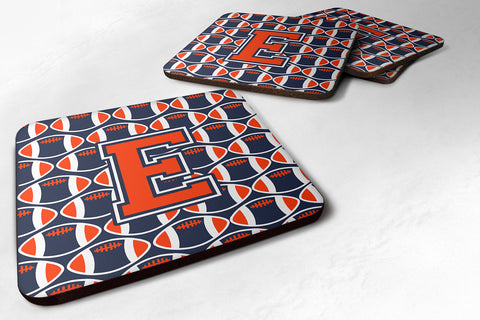 Buy this Letter E Football Orange, Blue and white Foam Coaster Set of 4 CJ1066-EFC