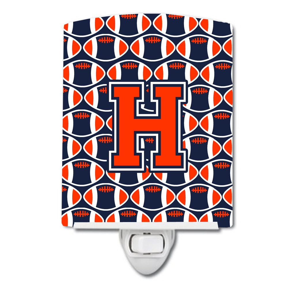 Letter H Football Orange, Blue and white Ceramic Night Light CJ1066-HCNL by Caroline's Treasures