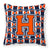 Letter H Football Orange, Blue and white Fabric Decorative Pillow CJ1066-HPW1414 by Caroline's Treasures