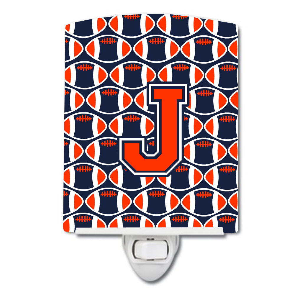 Letter J Football Orange, Blue and white Ceramic Night Light CJ1066-JCNL by Caroline's Treasures