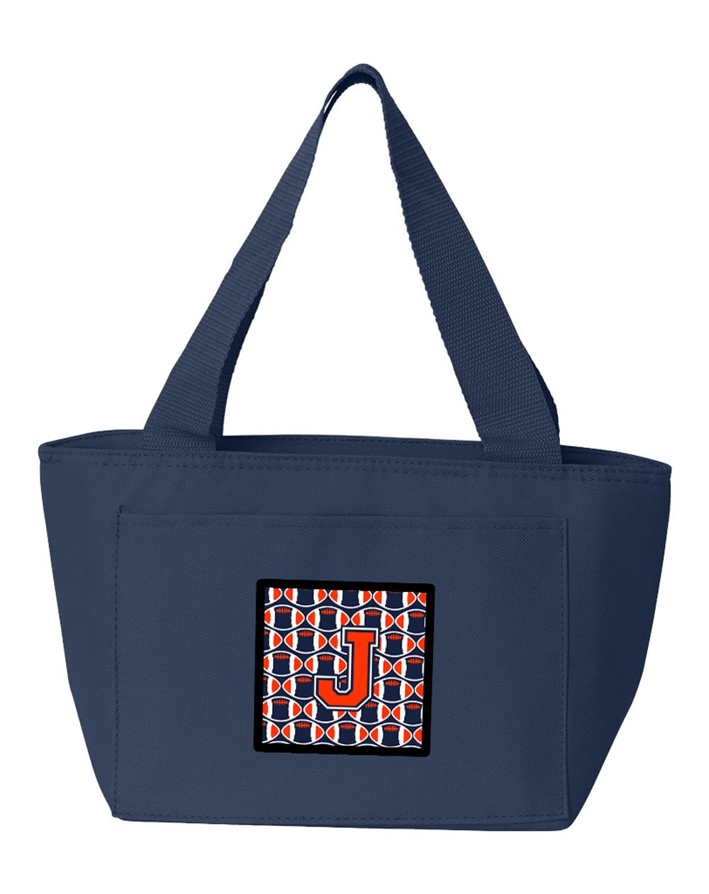 Letter J Football Orange, Blue and white Lunch Bag CJ1066-JNA-8808 by Caroline's Treasures
