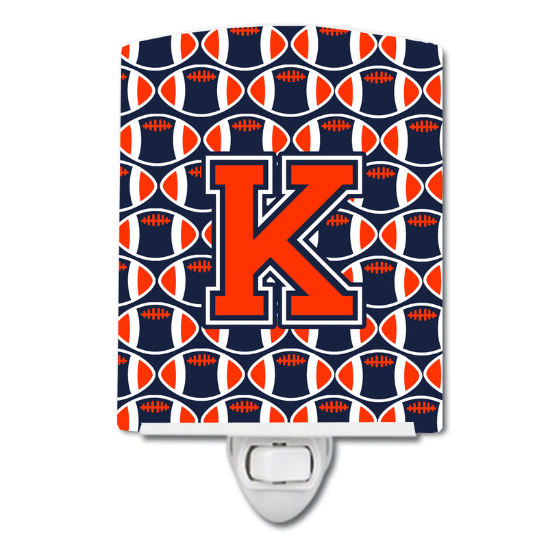 Buy this Letter K Football Orange, Blue and white Ceramic Night Light CJ1066-KCNL