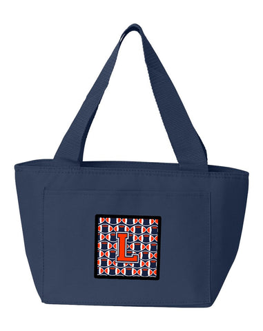 Buy this Letter L Football Orange, Blue and white Lunch Bag CJ1066-LNA-8808