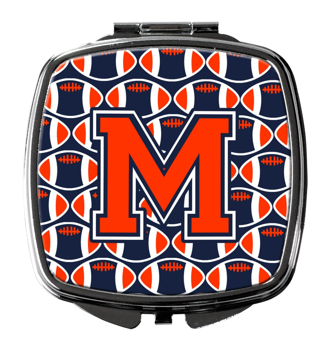 Letter M Football Orange, Blue and white Compact Mirror CJ1066-MSCM by Caroline's Treasures