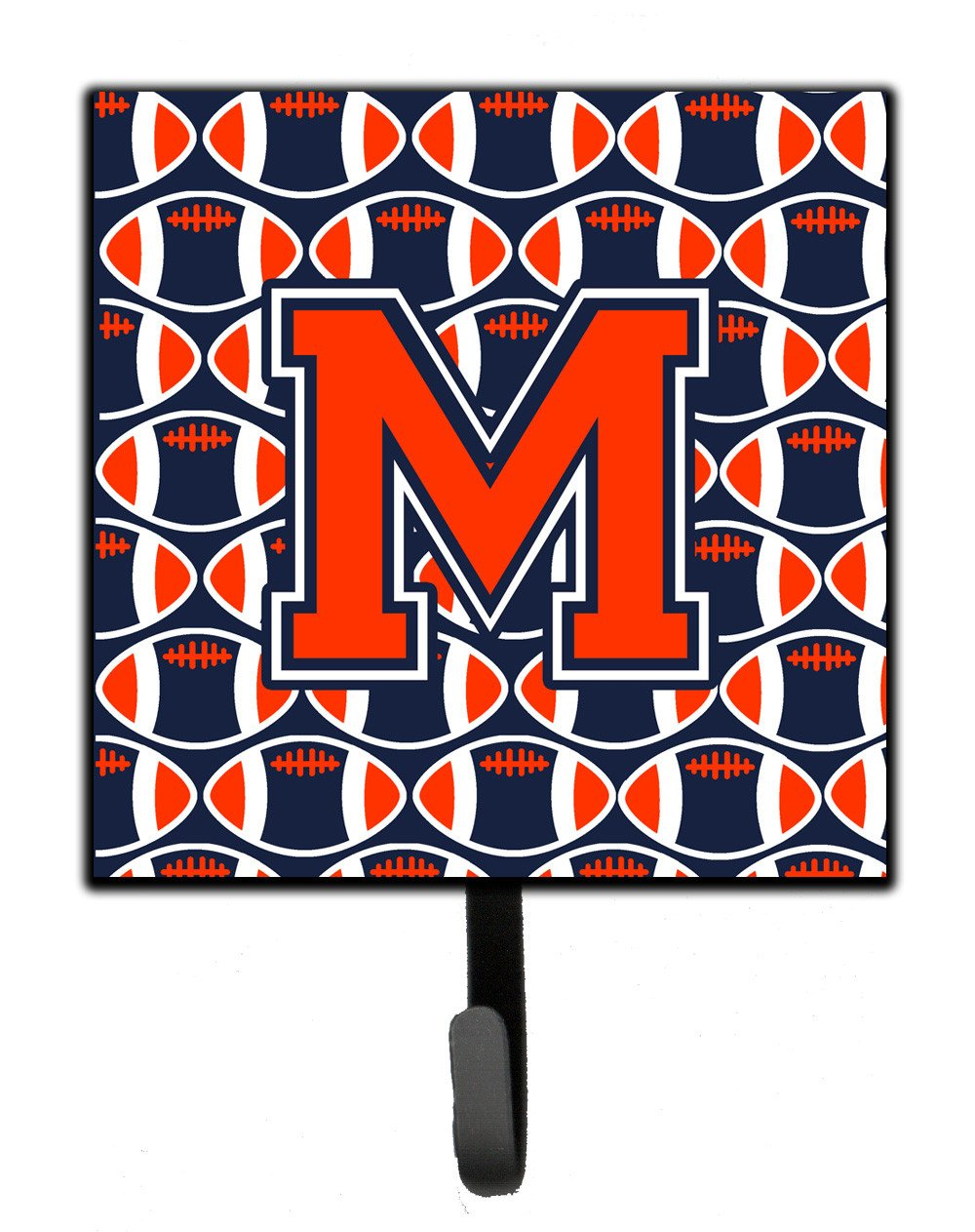 Letter M Football Orange, Blue and white Leash or Key Holder CJ1066-MSH4 by Caroline's Treasures