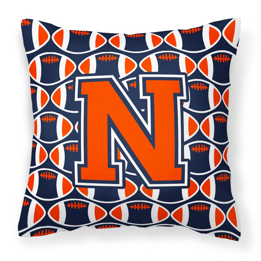Letter N Football Orange, Blue and white Fabric Decorative Pillow CJ1066-NPW1414 by Caroline's Treasures