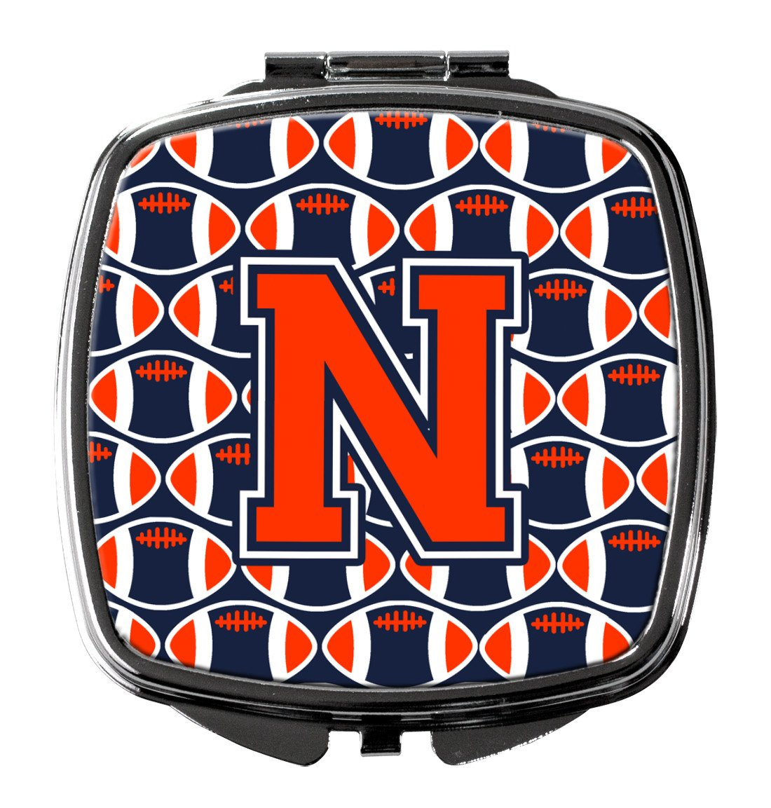 Letter N Football Orange, Blue and white Compact Mirror CJ1066-NSCM by Caroline's Treasures