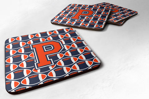 Buy this Letter P Football Orange, Blue and white Foam Coaster Set of 4 CJ1066-PFC