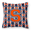 Letter S Football Orange, Blue and white Fabric Decorative Pillow CJ1066-SPW1414 by Caroline's Treasures