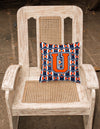Letter U Football Orange, Blue and white Fabric Decorative Pillow CJ1066-UPW1414