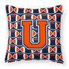 Buy this Letter U Football Orange, Blue and white Fabric Decorative Pillow CJ1066-UPW1414