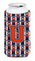 Buy this Letter U Football Orange, Blue and white Tall Boy Beverage Insulator Hugger CJ1066-UTBC