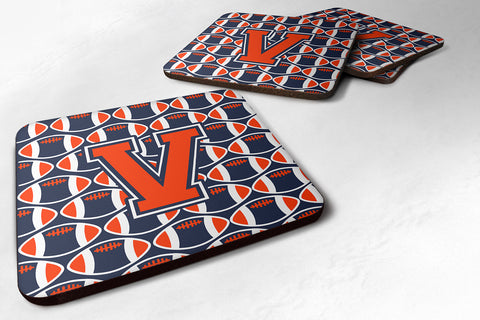 Buy this Letter V Football Orange, Blue and white Foam Coaster Set of 4 CJ1066-VFC