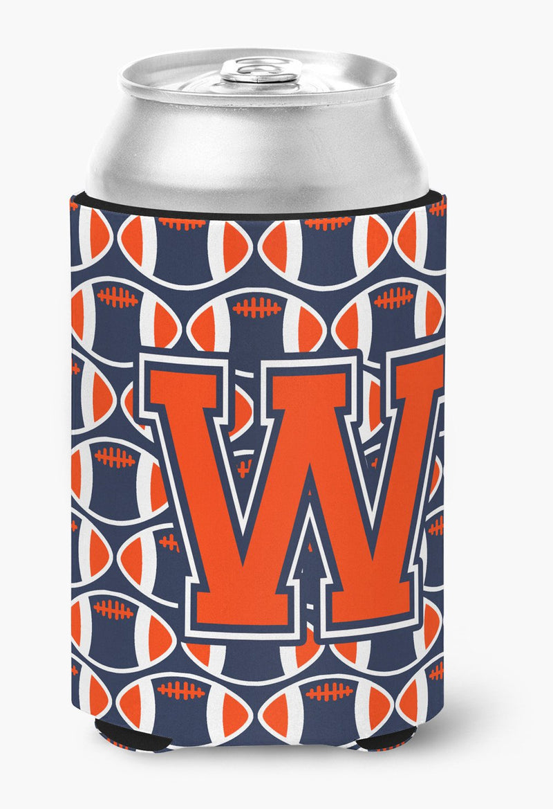 Buy this Letter W Football Orange, Blue and white Can or Bottle Hugger CJ1066-WCC