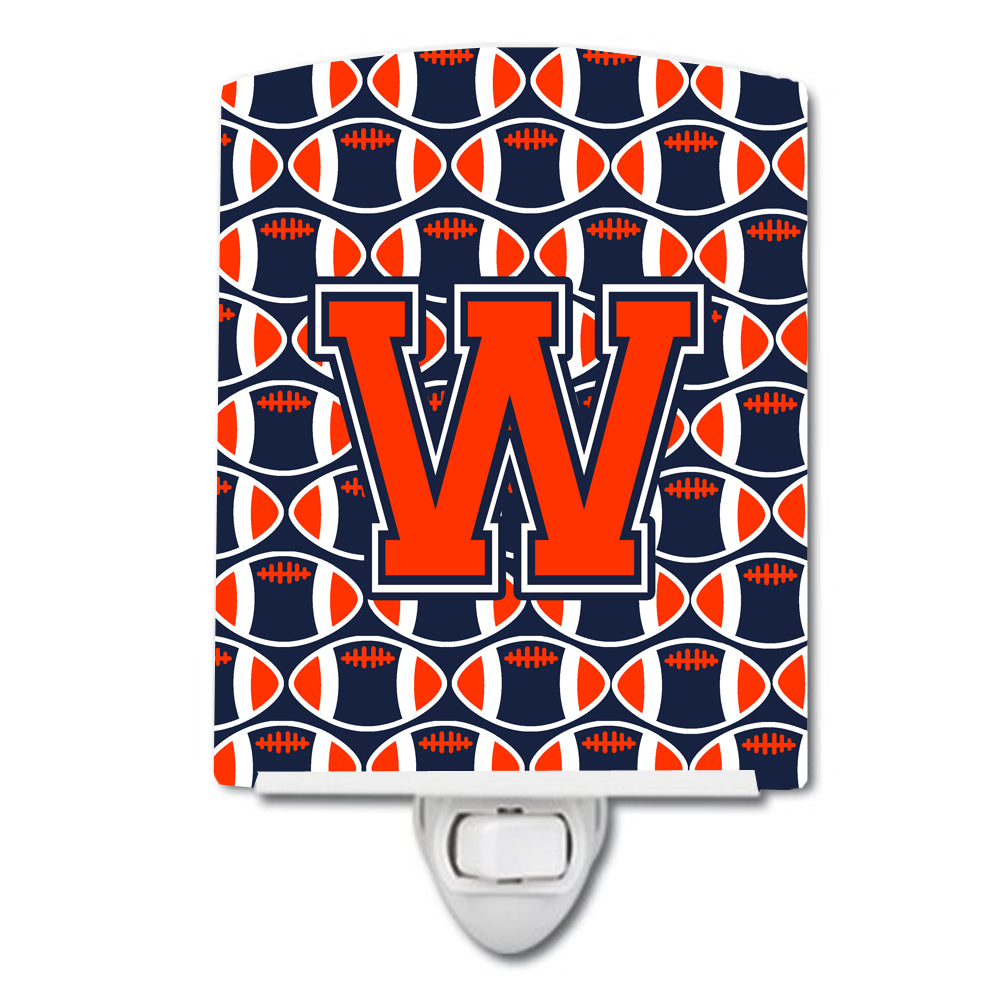 Buy this Letter W Football Orange, Blue and white Ceramic Night Light CJ1066-WCNL