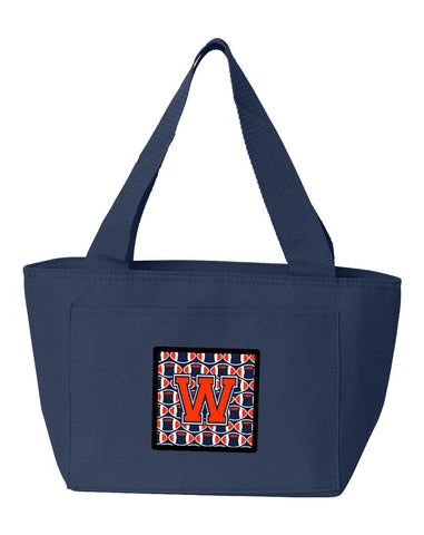 Buy this Letter W Football Orange, Blue and white Lunch Bag CJ1066-WNA-8808