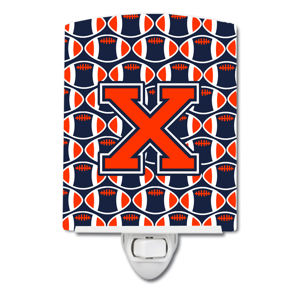 Buy this Letter X Football Orange, Blue and white Ceramic Night Light CJ1066-XCNL