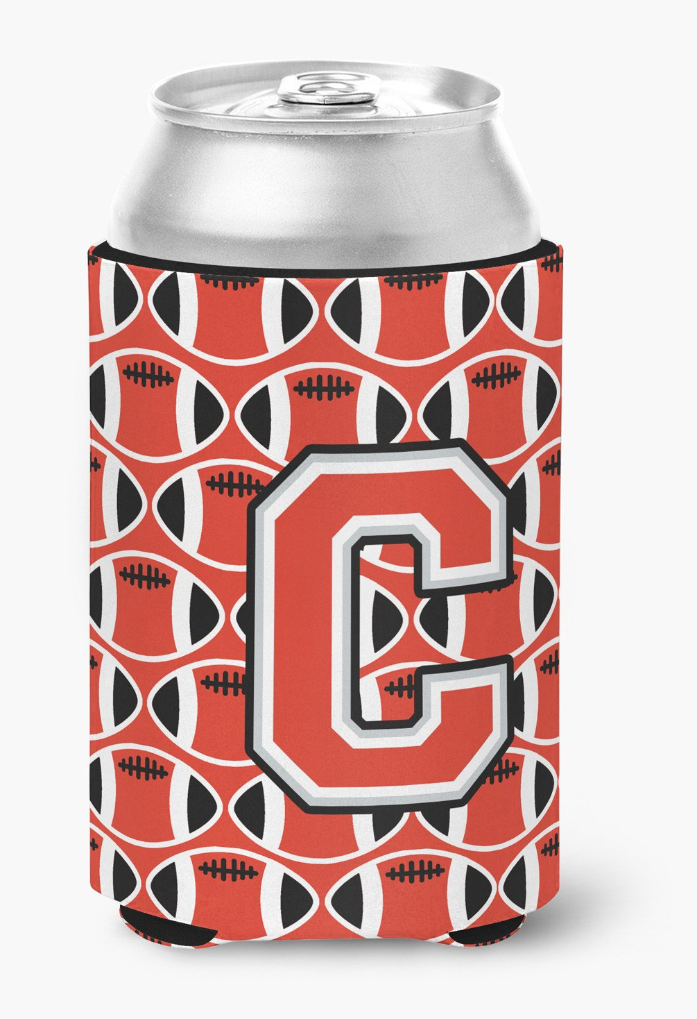 Letter C Football Scarlet and Grey Can or Bottle Hugger CJ1067-CCC by Caroline's Treasures
