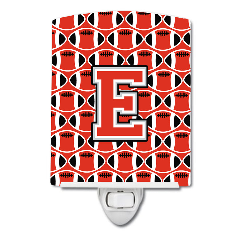 Buy this Letter E Football Scarlet and Grey Ceramic Night Light CJ1067-ECNL