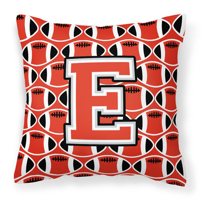 Buy this Letter E Football Scarlet and Grey Fabric Decorative Pillow CJ1067-EPW1414