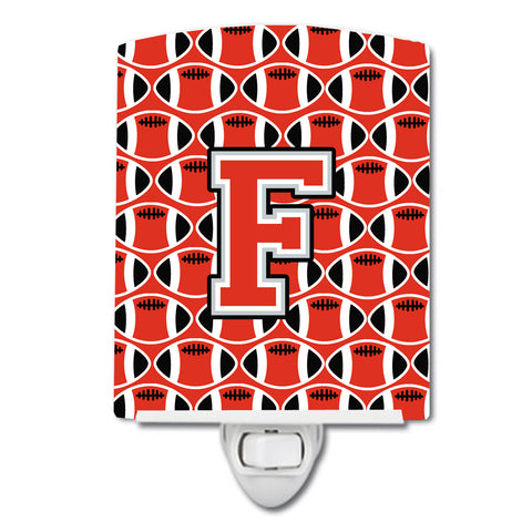 Buy this Letter F Football Scarlet and Grey Ceramic Night Light CJ1067-FCNL