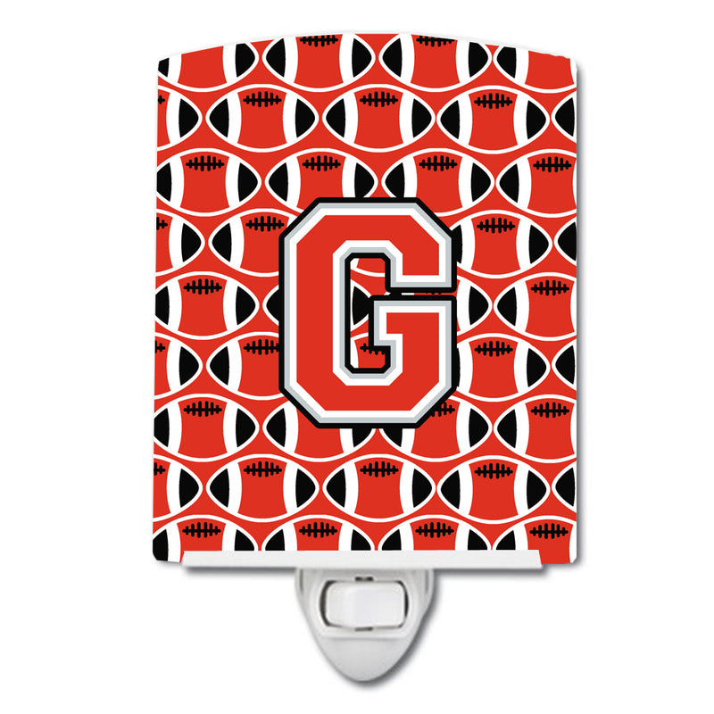 Buy this Letter G Football Scarlet and Grey Ceramic Night Light CJ1067-GCNL