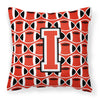 Letter I Football Scarlet and Grey Fabric Decorative Pillow CJ1067-IPW1414 by Caroline's Treasures