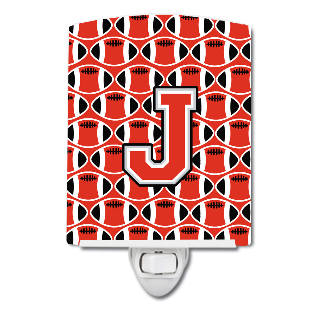 Letter J Football Scarlet and Grey Ceramic Night Light CJ1067-JCNL by Caroline's Treasures