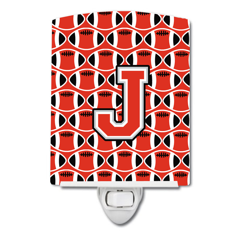 Buy this Letter J Football Scarlet and Grey Ceramic Night Light CJ1067-JCNL