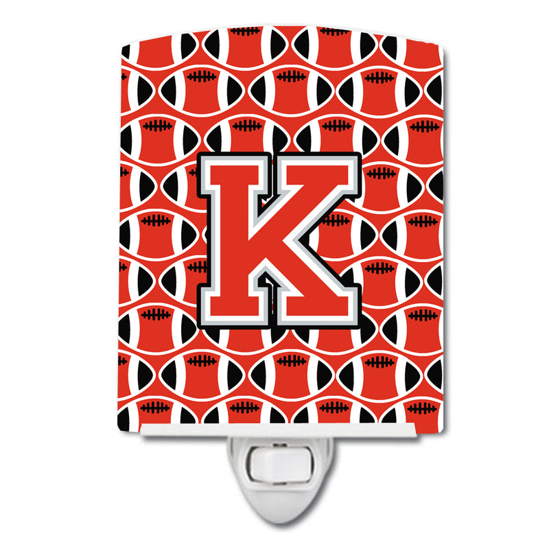Buy this Letter K Football Scarlet and Grey Ceramic Night Light CJ1067-KCNL