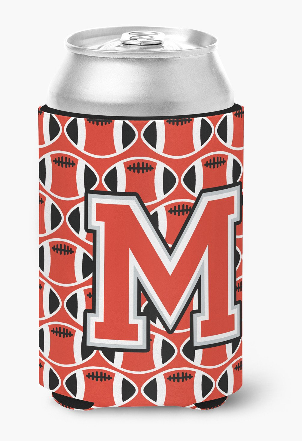 Letter M Football Scarlet and Grey Can or Bottle Hugger CJ1067-MCC by Caroline's Treasures