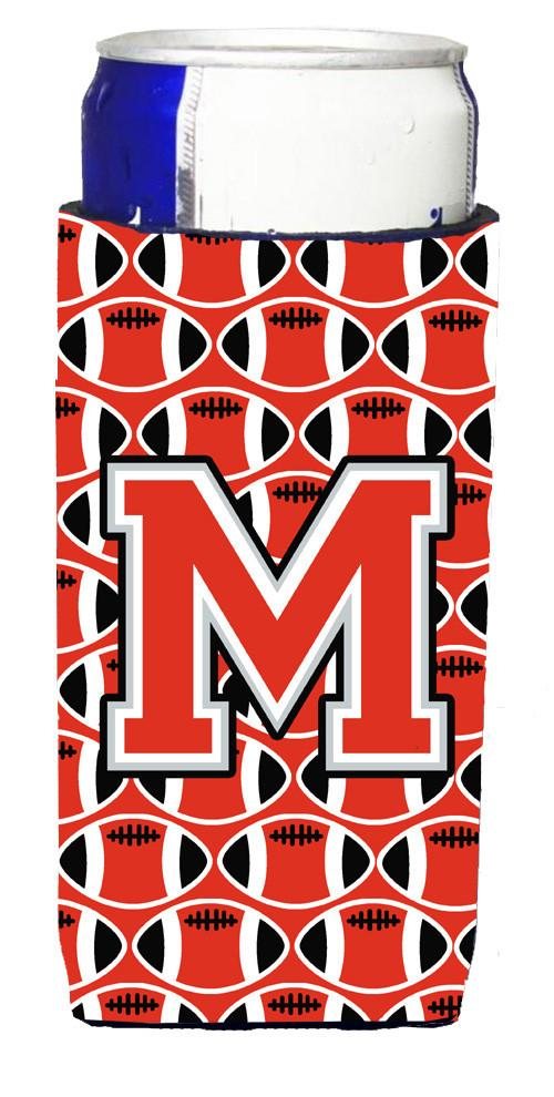 Letter M Football Scarlet and Grey Ultra Beverage Insulators for slim cans CJ1067-MMUK by Caroline's Treasures
