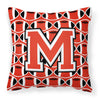 Letter M Football Scarlet and Grey Fabric Decorative Pillow CJ1067-MPW1414 by Caroline's Treasures