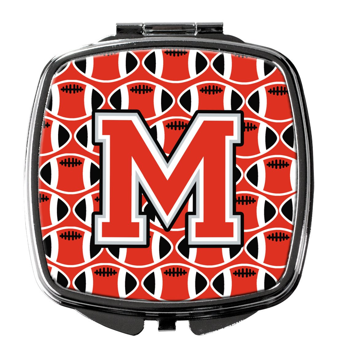 Letter M Football Scarlet and Grey Compact Mirror CJ1067-MSCM by Caroline's Treasures