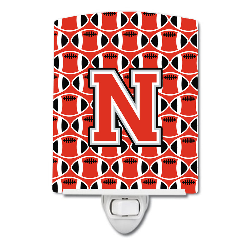 Buy this Letter N Football Scarlet and Grey Ceramic Night Light CJ1067-NCNL