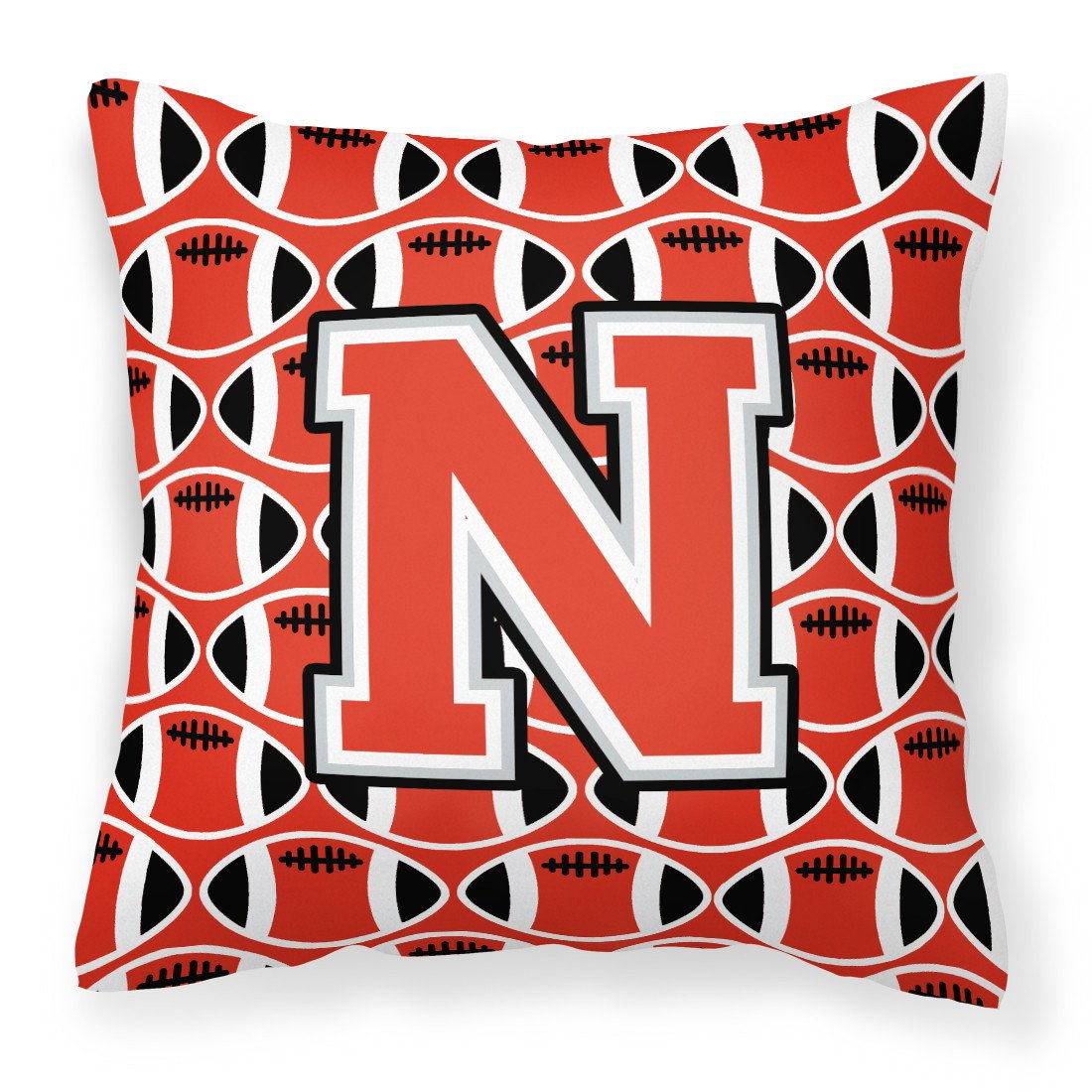 Letter N Football Scarlet and Grey Fabric Decorative Pillow CJ1067-NPW1414 by Caroline's Treasures